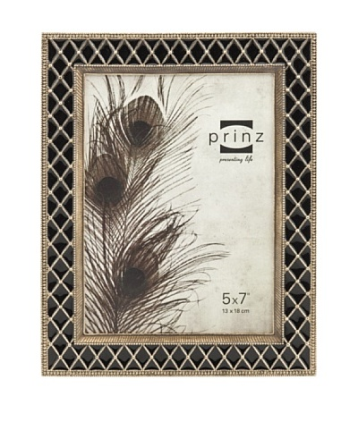 "Prinz Stratford 5"" x 7"" Enameled Metal Photo Frame, Black"