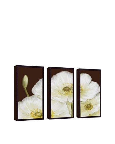White Poppy Giclée Triptych Canvas with Floater Frame