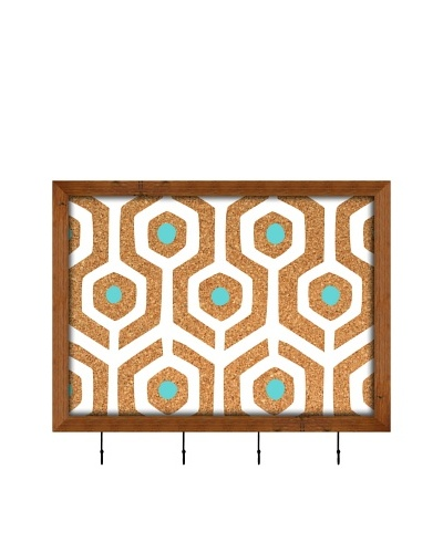 PTM Images Aqua Hexagon on Cork Key/Jewelry Organizer with Cork Backing, Natural
