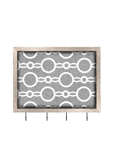 PTM Images Circular Key/Jewelry Organizer with Cork Backing, Grey