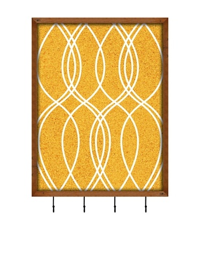 PTM Images Wave Pattern Key/Jewelry Organizer with Cork Backing, Yellow/White
