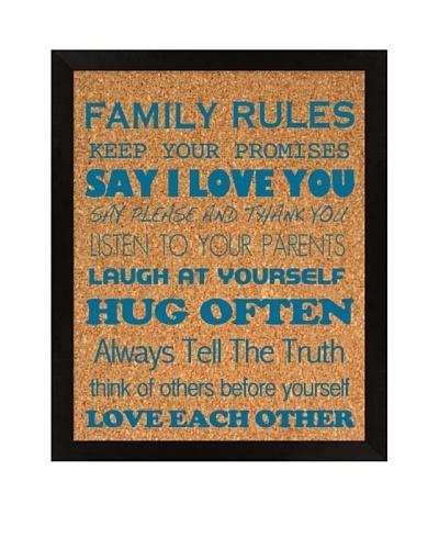 Family Rules Corkboard, Blue