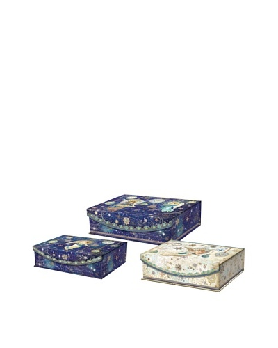 Punch Studio Set of 3 Holiday Nesting Flip Top Boxes, Celestial Sparkle