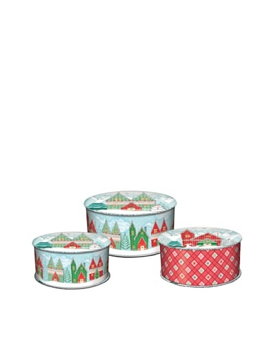 Punch Studio Set of 3 Holiday Spool Nesting Boxes, Winterland