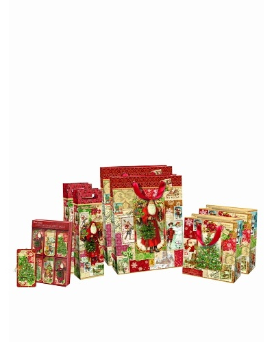 Punch Studio Holiday Gift Bag Set, Christmas Victoriana