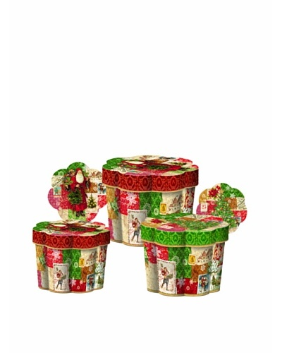 Punch Studio Nesting Set of 3 Fluted Boxes [Christmas Victoriana]