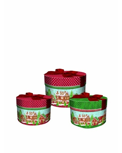 Punch Studio 3-Piece Round Nesting Gingerbread House Boxes