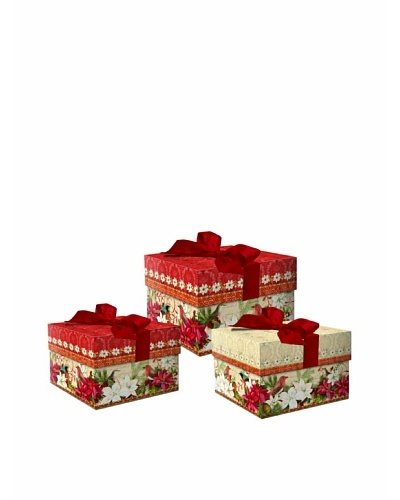 Punch Studio 3-Piece Square Nesting Merry Birds Boxes