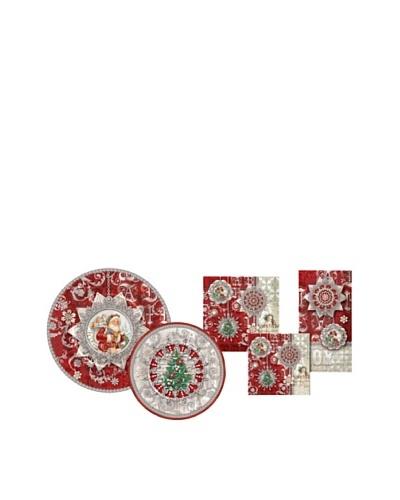 Punch Studio Holiday Plate & Napkin Set, Silver Shimmer