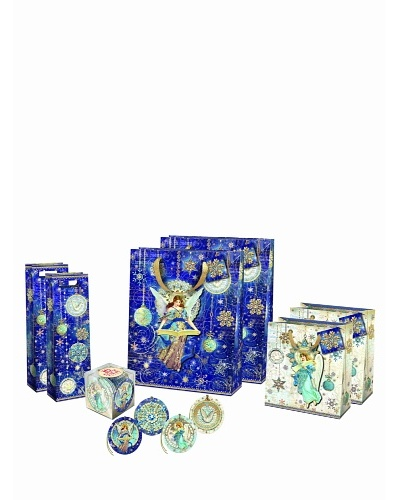 Punch Studio Holiday Gift Bag Set, Celestial Sparkle