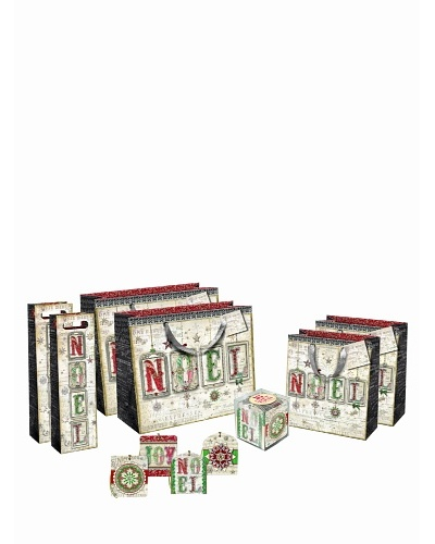 Punch Studio Holiday Gift Bag Set, Noel