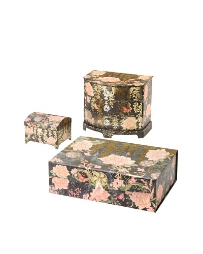 Punch Studio Set of 3 Boudoir Collection Treasure Boxes, Asian Peony