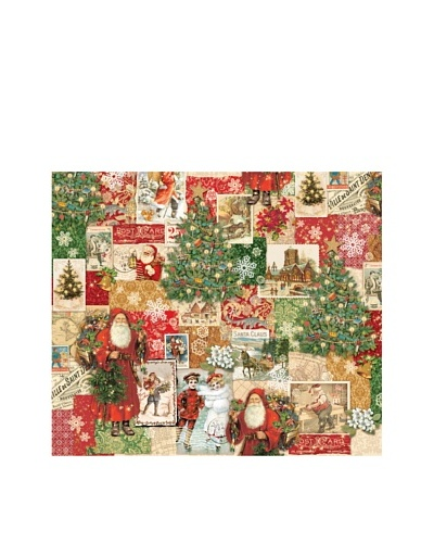 Punch Studio Set of 4 Continuous Roll Holiday Gift Wrap, Christmas Victoriana
