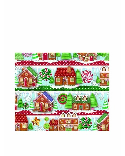 Punch Studio Set of 8 Continuous Roll Gift Wrap [Gingerbread Houses]