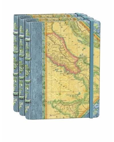 Punch Studio Set of 3 World Map Embossed Library Journals