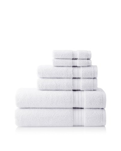 Pure Fiber Zero Twist 6-Piece Towel Set, White