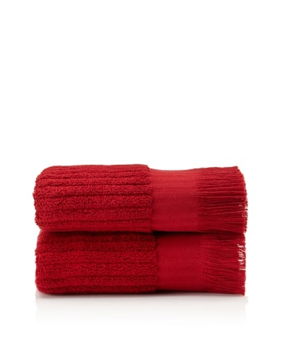 Pure Fiber Set of 2 Ribbed Hand Towels