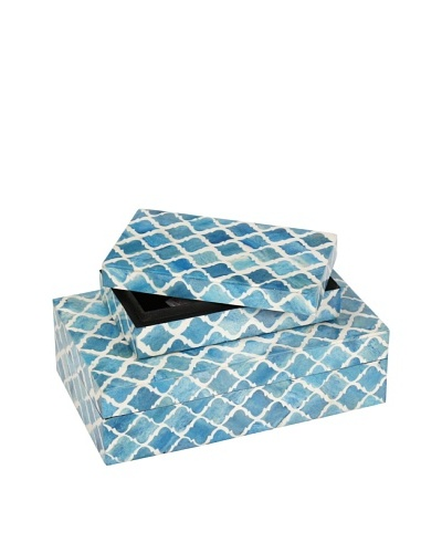 Purva Nested Damask Bone Boxes, Turquoise