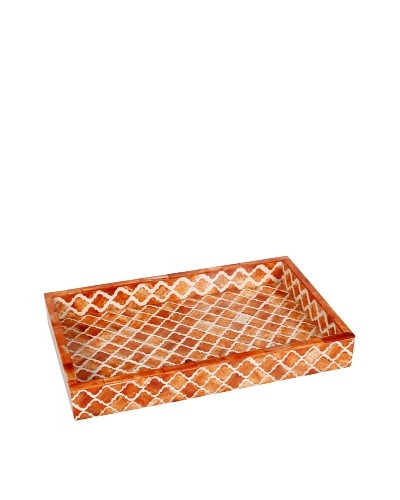 Purva Damask Bone Tray, Orange