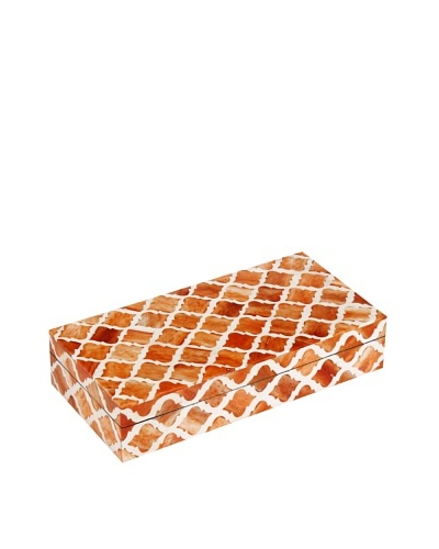 Purva Damask Bone Box, Orange