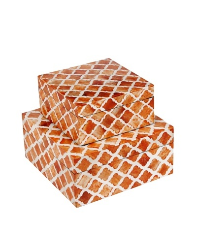 Purva Nested Damask Bone Boxes, Orange