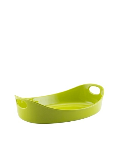 Rachael Ray Bubble and Browns 3-Quart Large Oval Stoneware Bakers [Green]