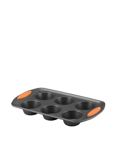 Rachael Ray Oven Lovin' Cups Nonstick Bakeware 6-Cup Muffin and Cupcake Pan, Orange Grip