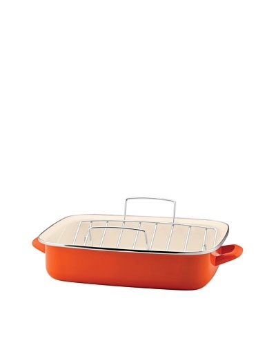 Rachael Ray Enamel on Steel Roaster with V-Shape Rack [Orange]