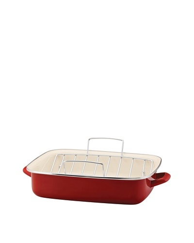 Rachael Ray Enamel on Steel Roaster with V-Shape Rack [Red]