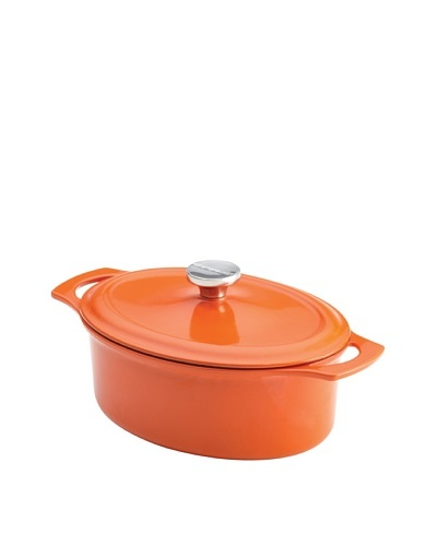 Rachael Ray Cast Iron Covered Oval Casserole, Orange, 3.5-Quart