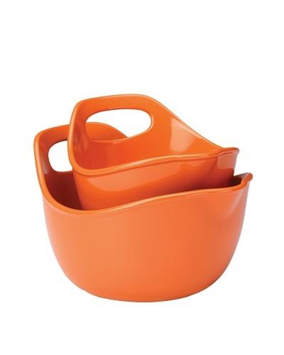Rachael Ray Stoneware Serving and Mixing Bowl Set, 1-Quart and 2-Quart, Orange