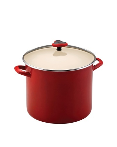 Rachael Ray Enamel On Steel Stockpot with Glass Lid [Red]