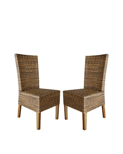 Rattan Living Set of 2 Wicker Chairs, Brown