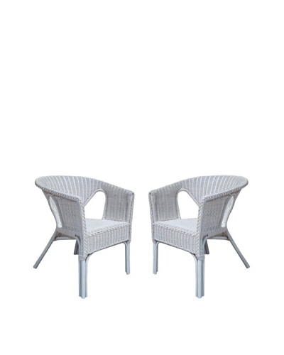 Rattan Living Set of 2 Wicker Chairs, White