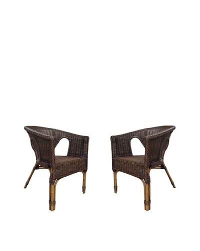 Rattan Living Set of 2 Wicker Chairs, Espresso