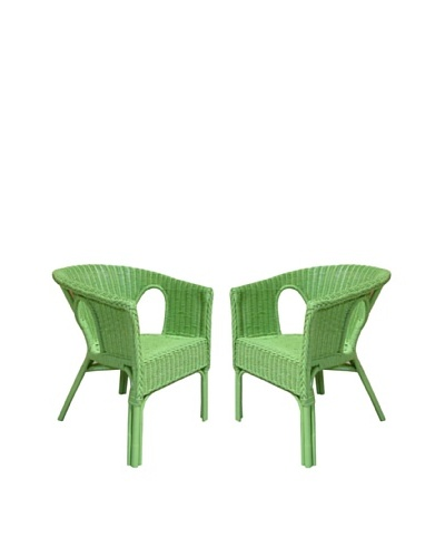Rattan Living Set of 2 Wicker Chairs, Green