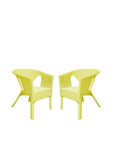 Rattan Living Set of 2 Wicker Chairs, Yellow