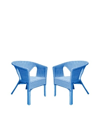 Rattan Living Set of 2 Wicker Chairs, Blue