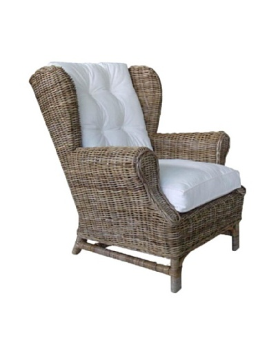 Rattan Living Wing Chair with Cushion, Brown/Kubu Gray