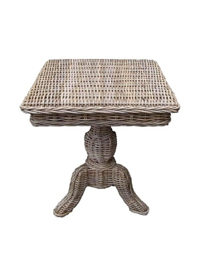 Rattan Living Wicker Side Table, Weathered Gray