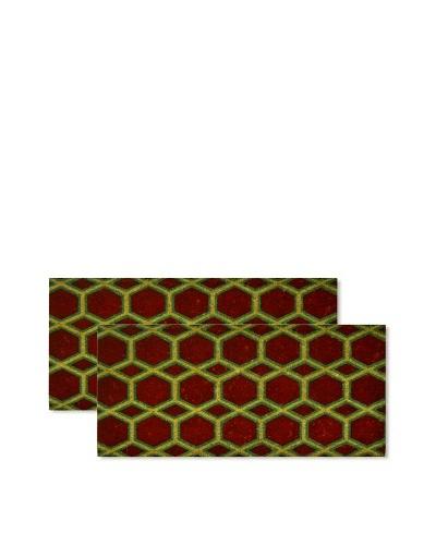 Raymond Waites Set of 2 Satu Coir Doormats, Red