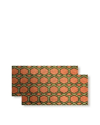 Raymond Waites Set of 2 Satu Coir Doormats, Coral