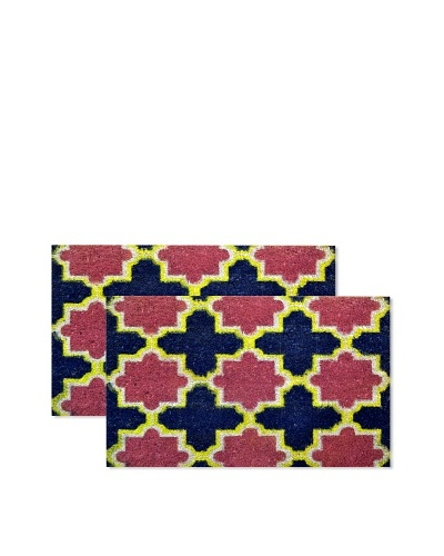 Raymond Waites Set of 2 Casablanca Coir Doormats, Blue