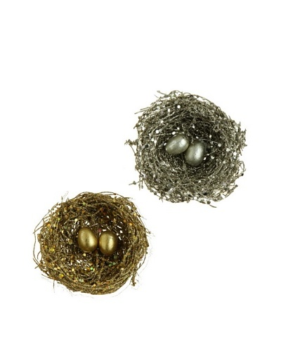 RAZ Set of 2 Assorted Clip-On Nest Ornaments
