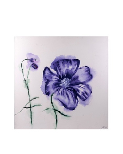 Red Label Andrea Gutierrez Blue Pansy Oil Painting