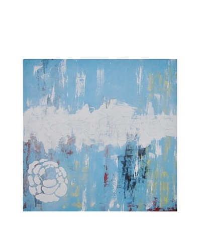 Red Label Andrea Gutierrez Abstract Turquoise Oil Painting