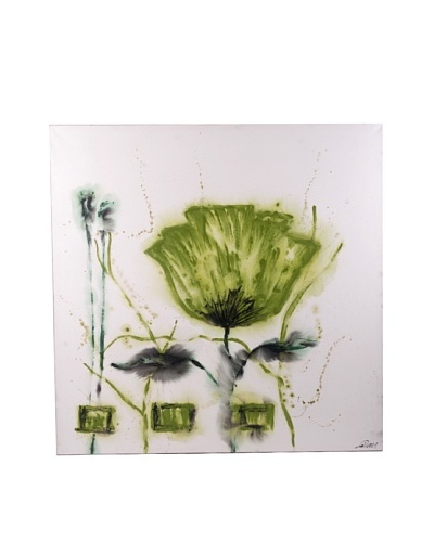 Red Label Andrea Gutierrez Green Poppy Flower Oil Painting