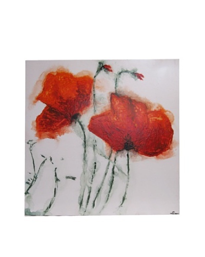 Red Label Andrea Gutierrez Red Poppy Flower Oil Painting