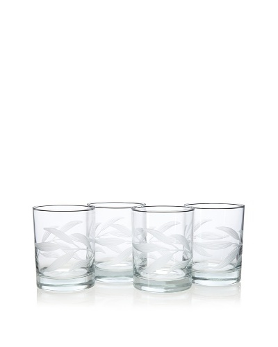 Reed & Barton Set of 4 Bamboo Garden Double Old-Fashioned Glasses, 14-Oz.