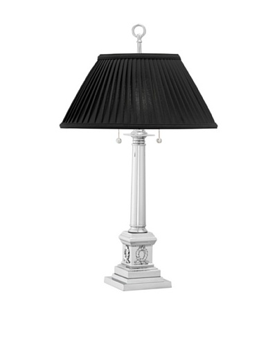 Remington Lamp Polished Chrome Campaign Column Table Lamp